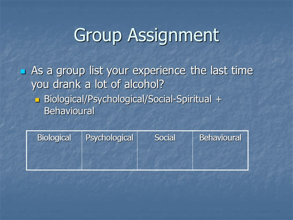 Group Assignment As a group list your experience the last time you drank a lot of alcohol Biological/Psychological/Social-Spiritual + Behavioural.