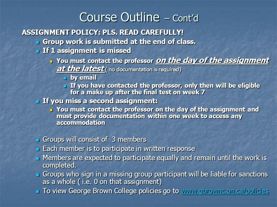 Course Outline – Cont'd
