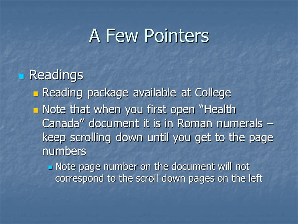 A Few Pointers Readings Reading package available at College
