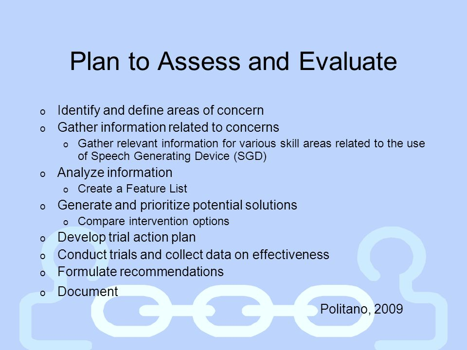 Plan to Assess and Evaluate