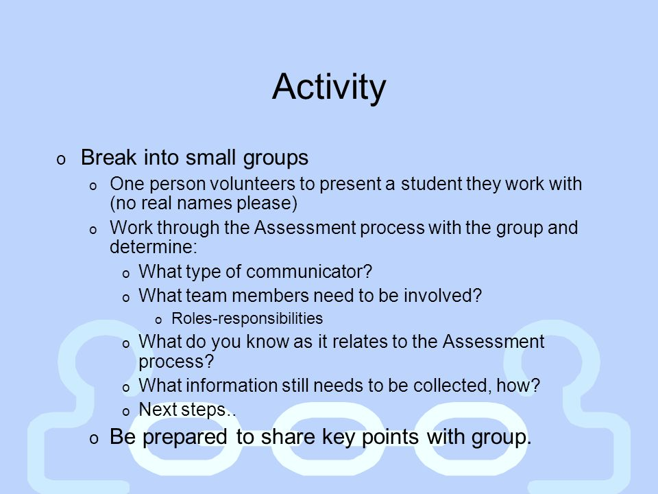 Activity Break into small groups