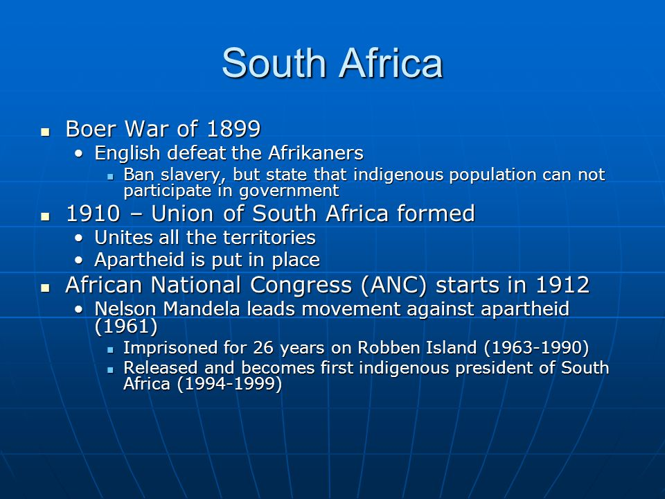 South Africa Boer War of 1899 1910 – Union of South Africa formed