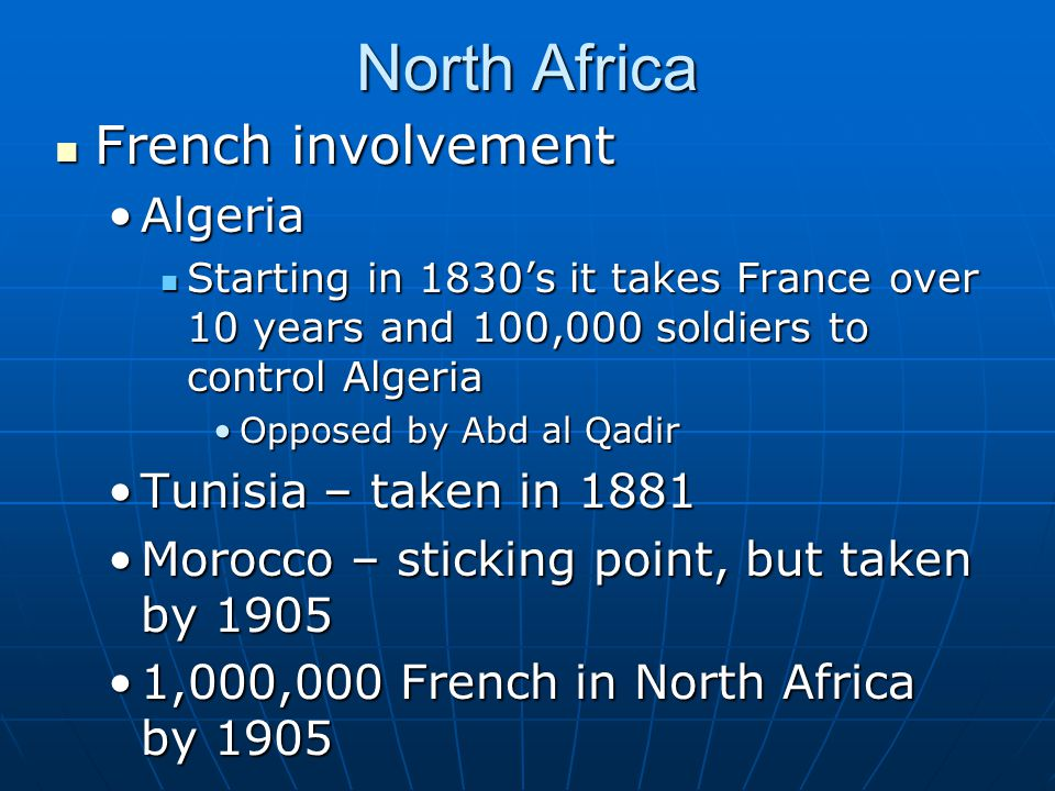 North Africa French involvement Algeria Tunisia – taken in 1881
