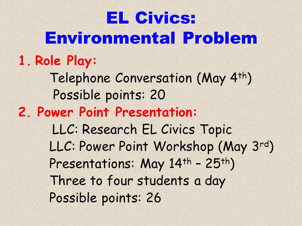 EL Civics: Environmental Problem