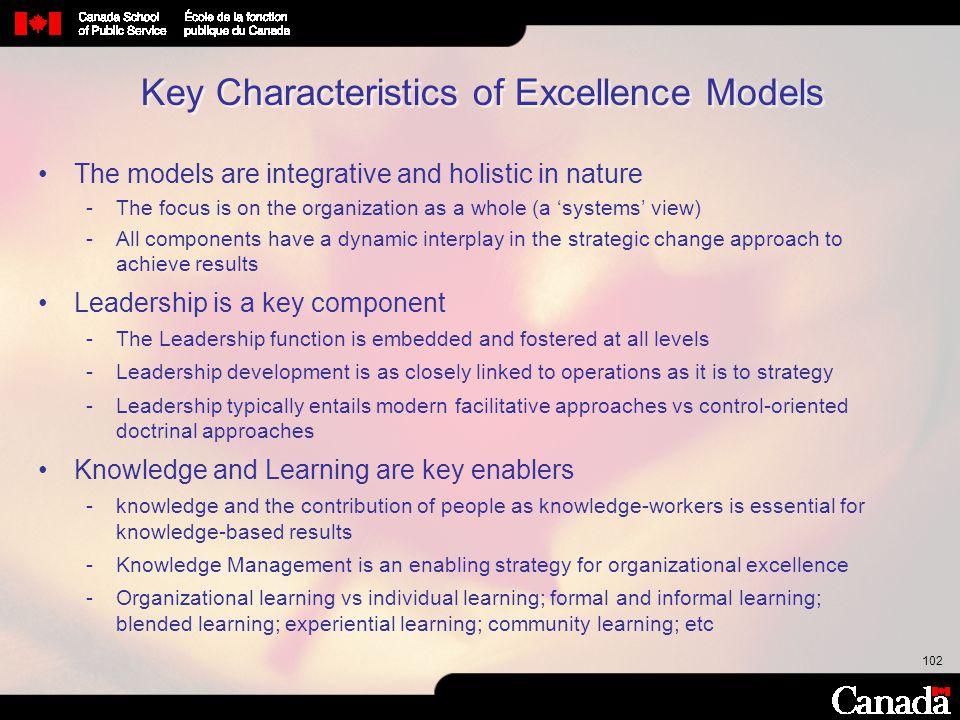 Key Characteristics of Excellence Models