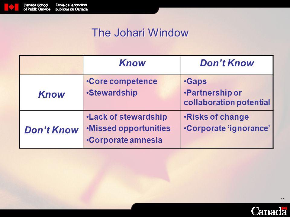 The Johari Window Know Don't Know Core competence Stewardship Gaps