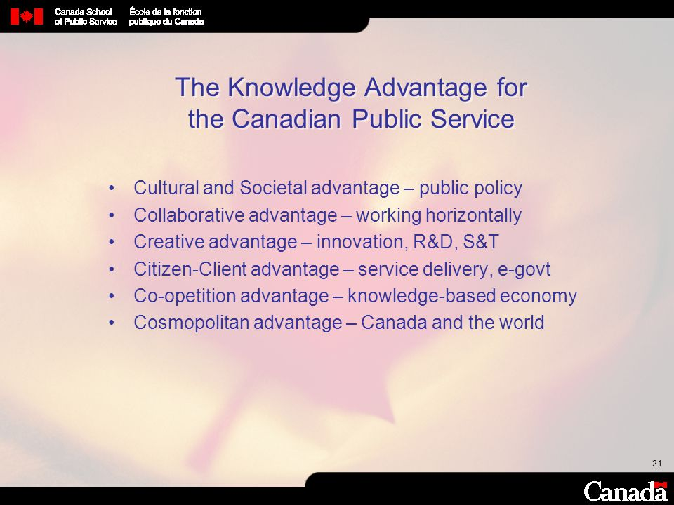 The Knowledge Advantage for the Canadian Public Service