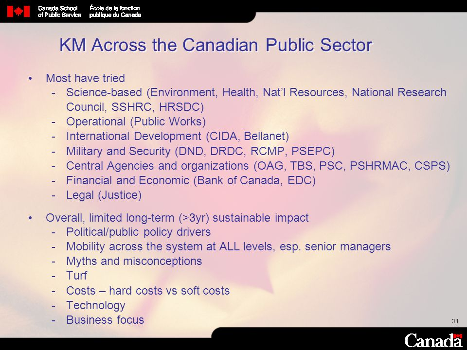 KM Across the Canadian Public Sector