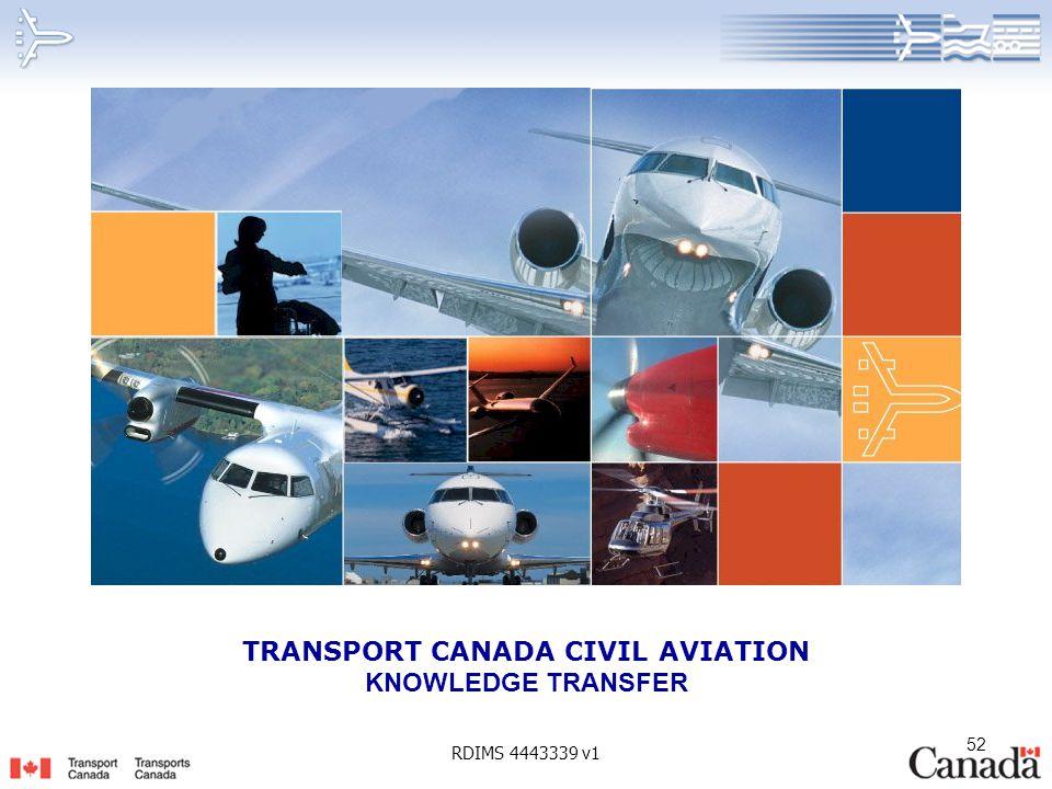 TRANSPORT CANADA CIVIL AVIATION KNOWLEDGE TRANSFER