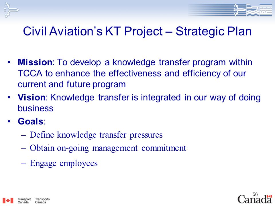 Civil Aviation's KT Project – Strategic Plan