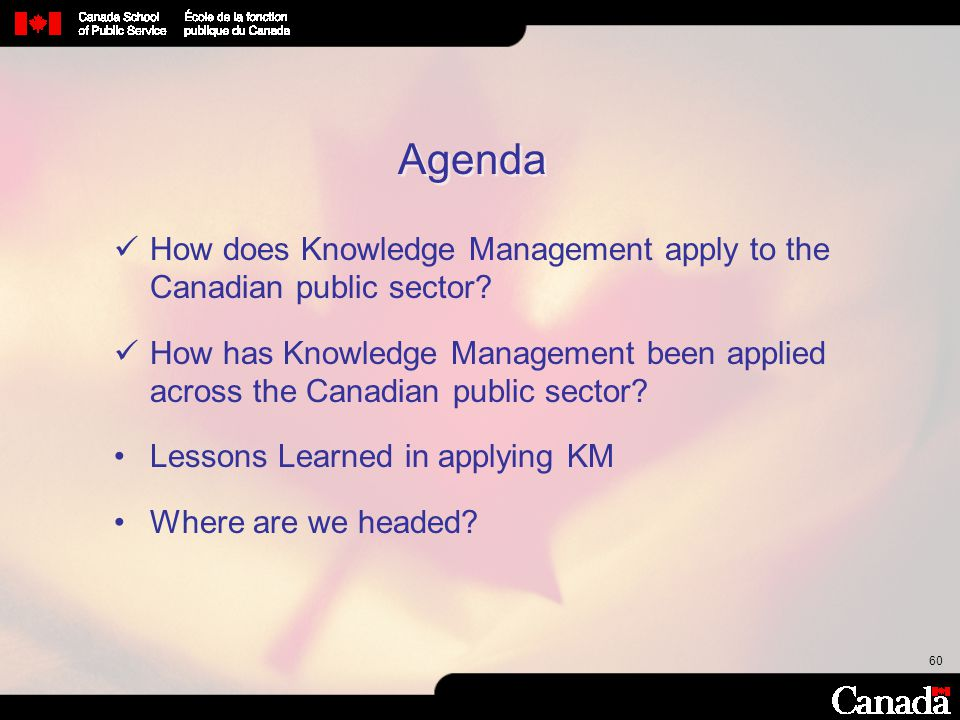 Agenda How does Knowledge Management apply to the Canadian public sector