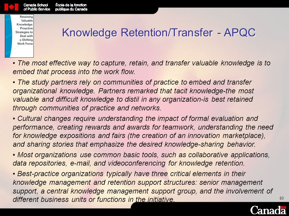Knowledge Retention/Transfer - APQC