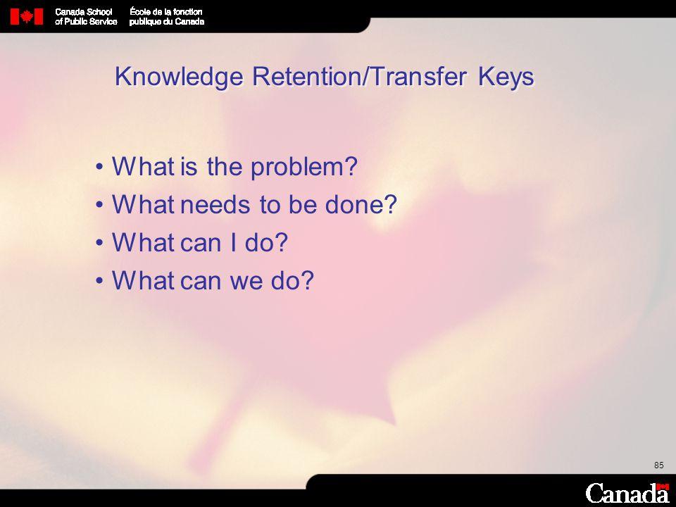 Knowledge Retention/Transfer Keys