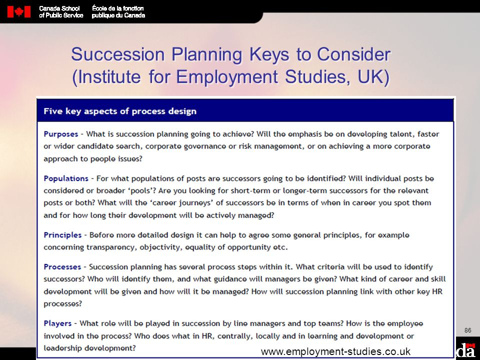 Succession Planning Keys to Consider (Institute for Employment Studies, UK)