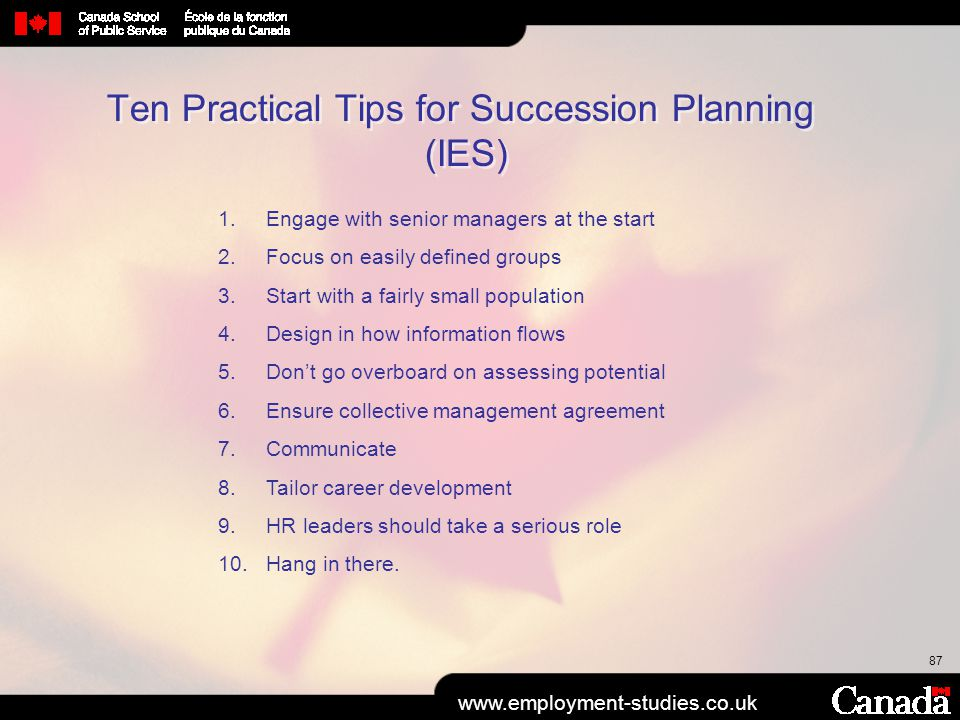 Ten Practical Tips for Succession Planning (IES)