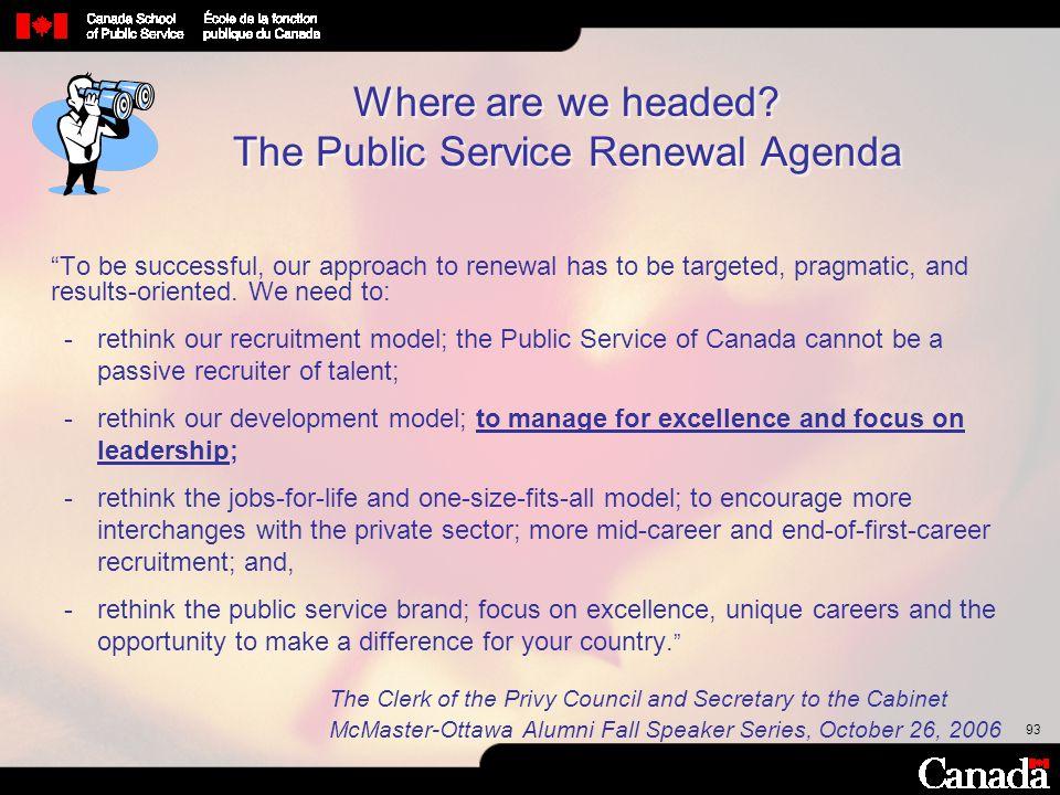 Where are we headed The Public Service Renewal Agenda