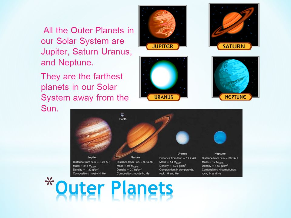 All the Outer Planets in our Solar System are Jupiter, Saturn Uranus, and Neptune. They are the farthest planets in our Solar System away from the Sun.
