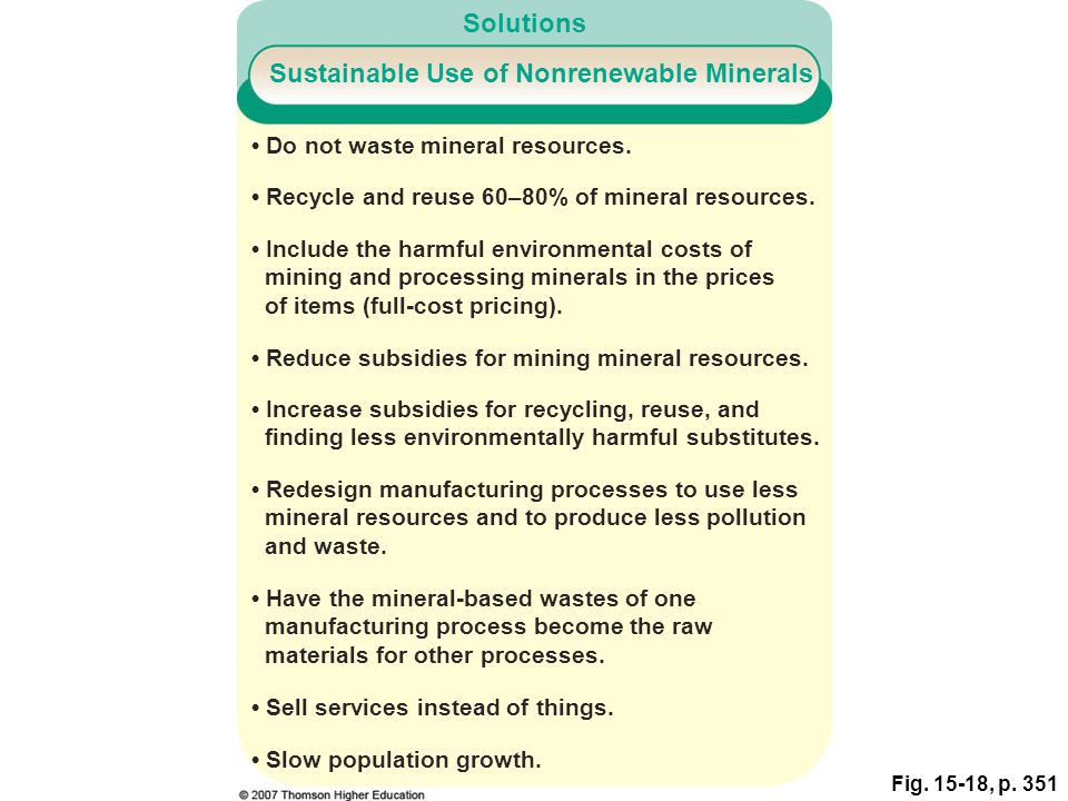 Sustainable Use of Nonrenewable Minerals