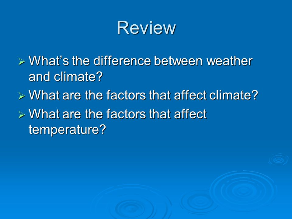 Review What's the difference between weather and climate