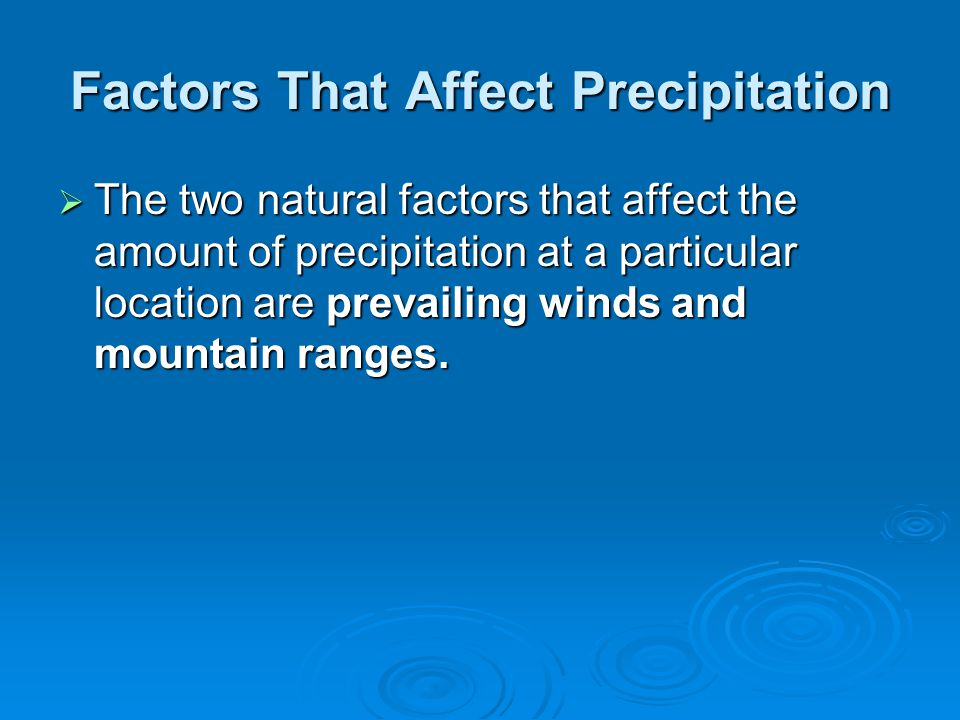 Factors That Affect Precipitation