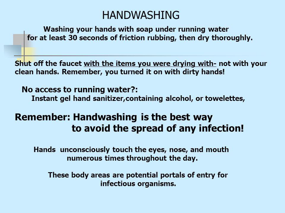 HANDWASHING Remember: Handwashing is the best way