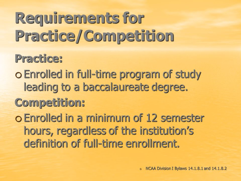 Requirements for Practice/Competition