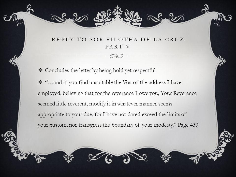 Reply to Sor Filotea de la Cruz Part V