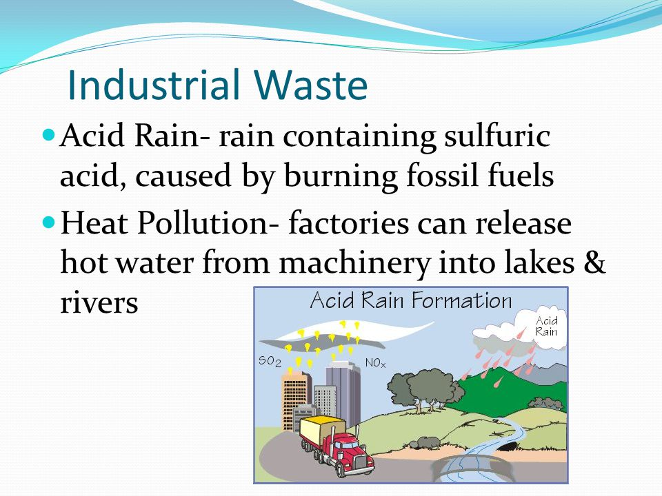 Industrial Waste Acid Rain- rain containing sulfuric acid, caused by burning fossil fuels.