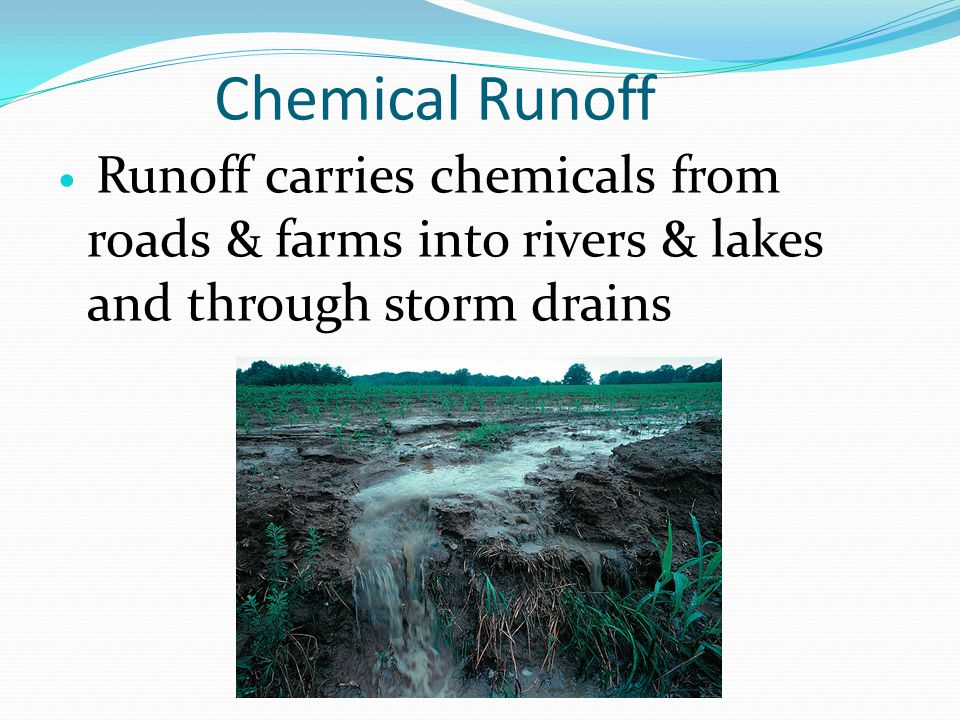 Chemical Runoff Runoff carries chemicals from roads & farms into rivers & lakes and through storm drains.