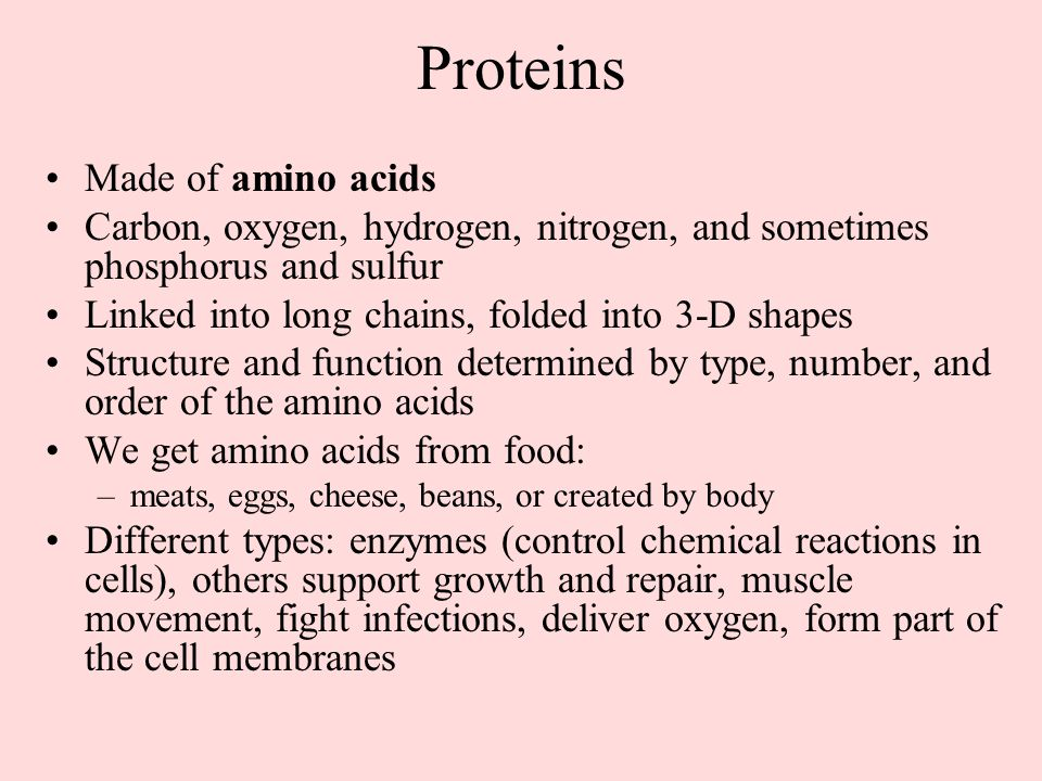Proteins Made of amino acids