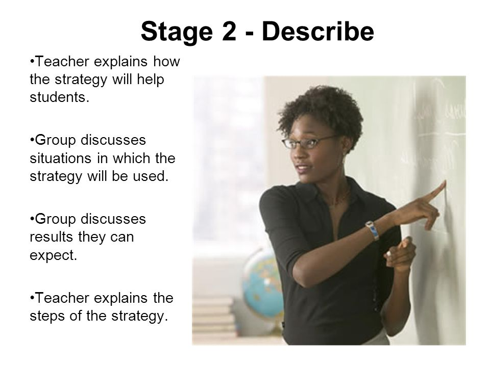 Stage 2 - Describe Teacher explains how the strategy will help students. Group discusses situations in which the strategy will be used.
