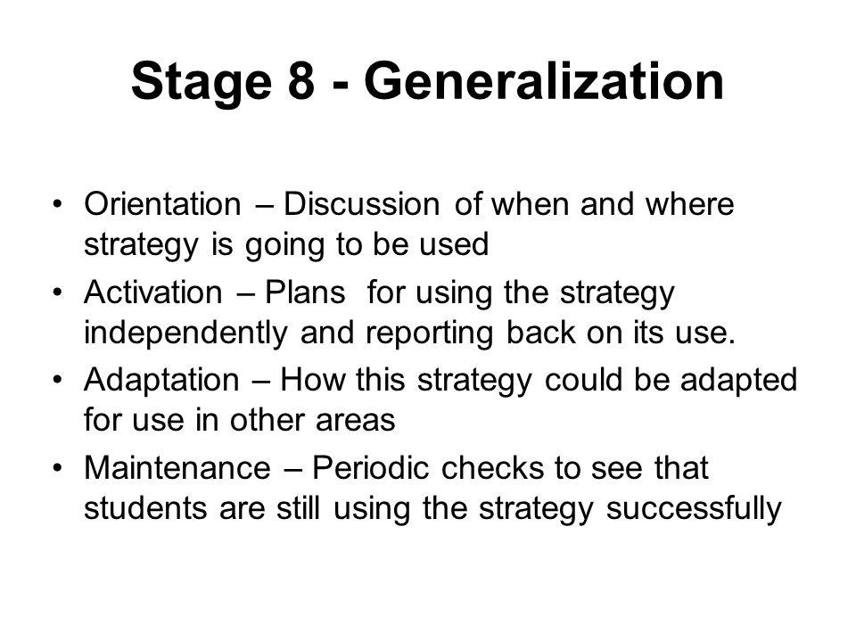 Stage 8 - Generalization