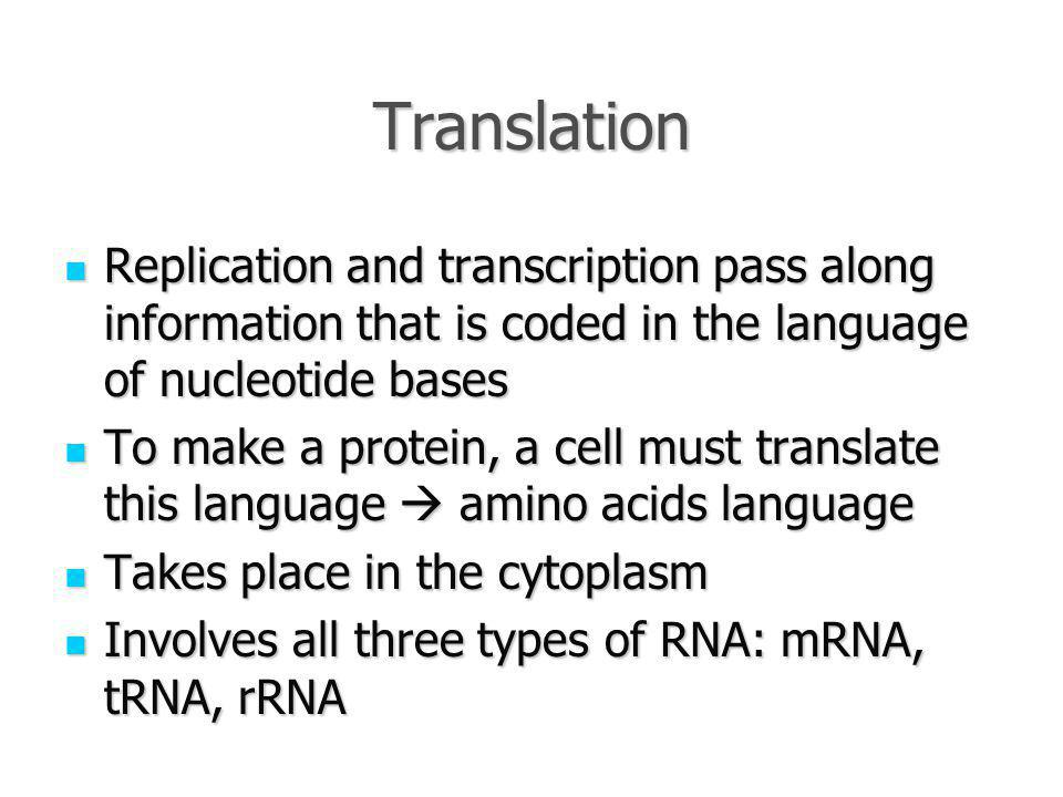 Translation Replication and transcription pass along information that is coded in the language of nucleotide bases.