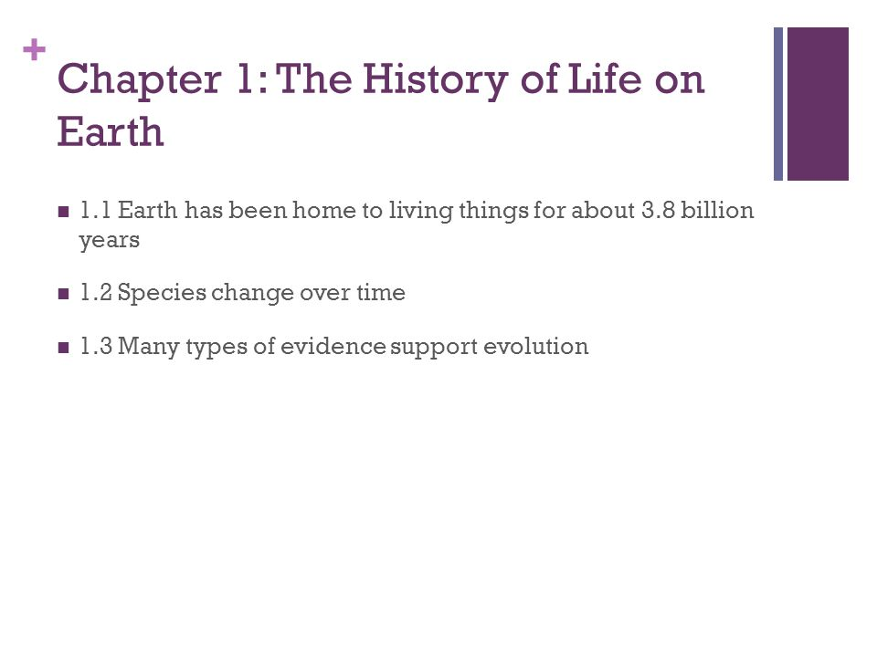Chapter 1: The History of Life on Earth
