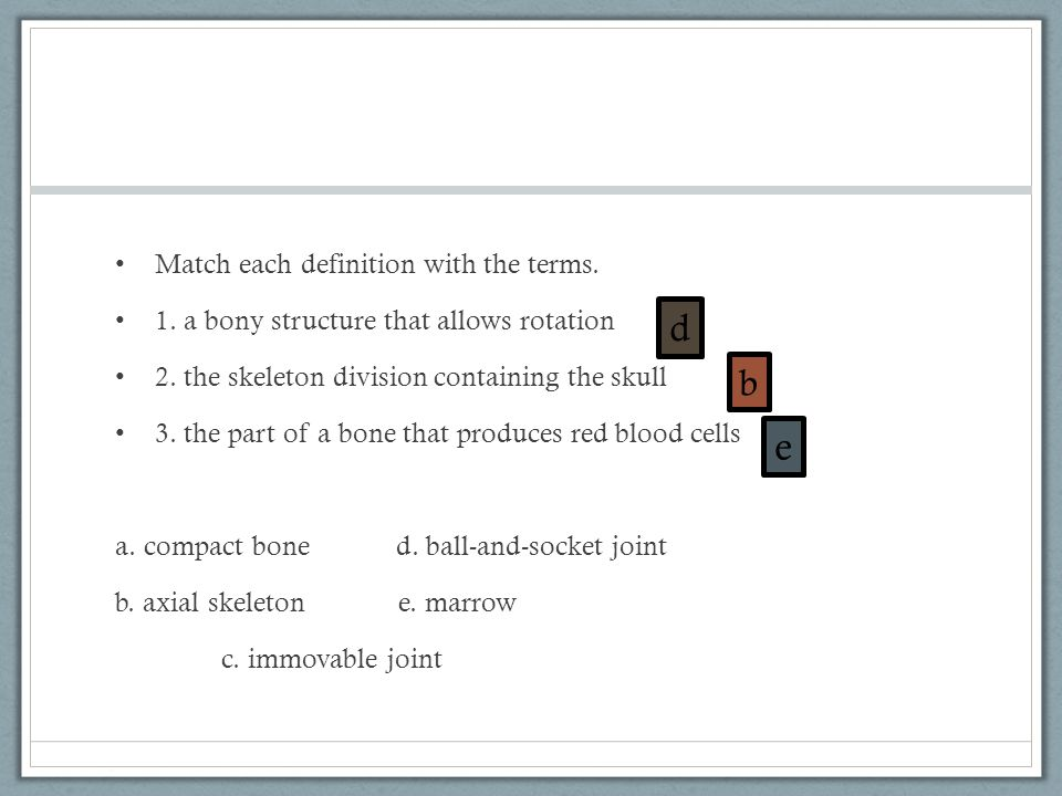 d e b Match each definition with the terms.
