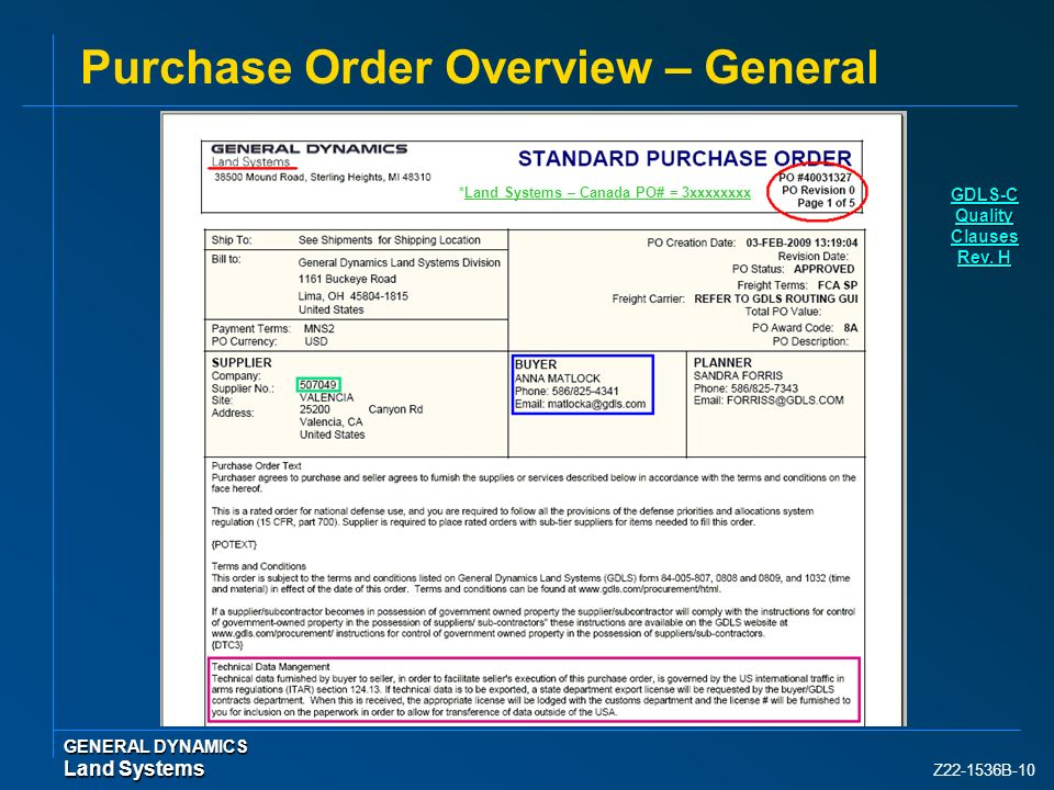 Purchase Order Overview – General