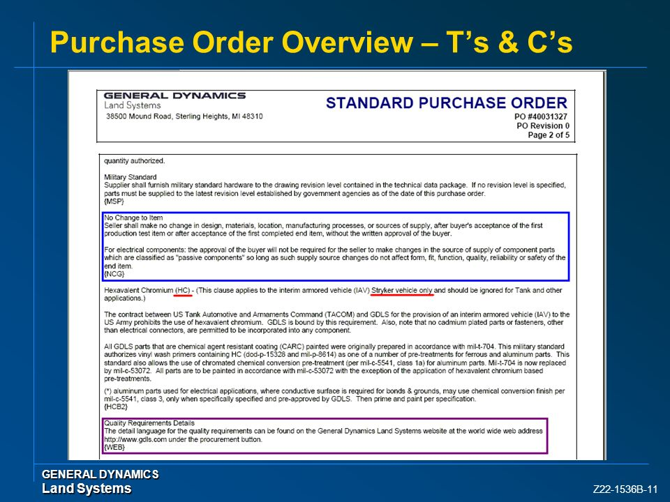 Purchase Order Overview – T's & C's