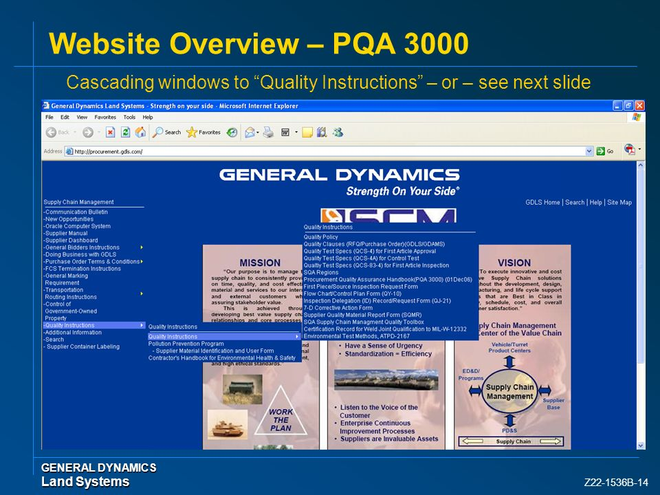 Website Overview – PQA 3000 Cascading windows to Quality Instructions – or – see next slide. GENERAL DYNAMICS.