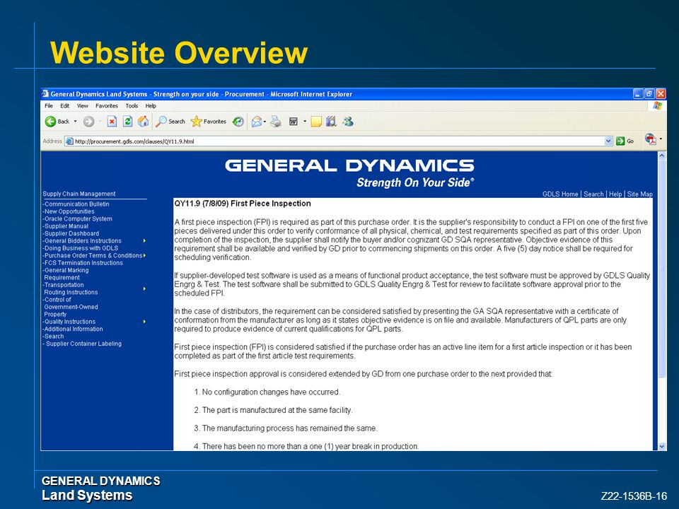 Website Overview GENERAL DYNAMICS Land Systems