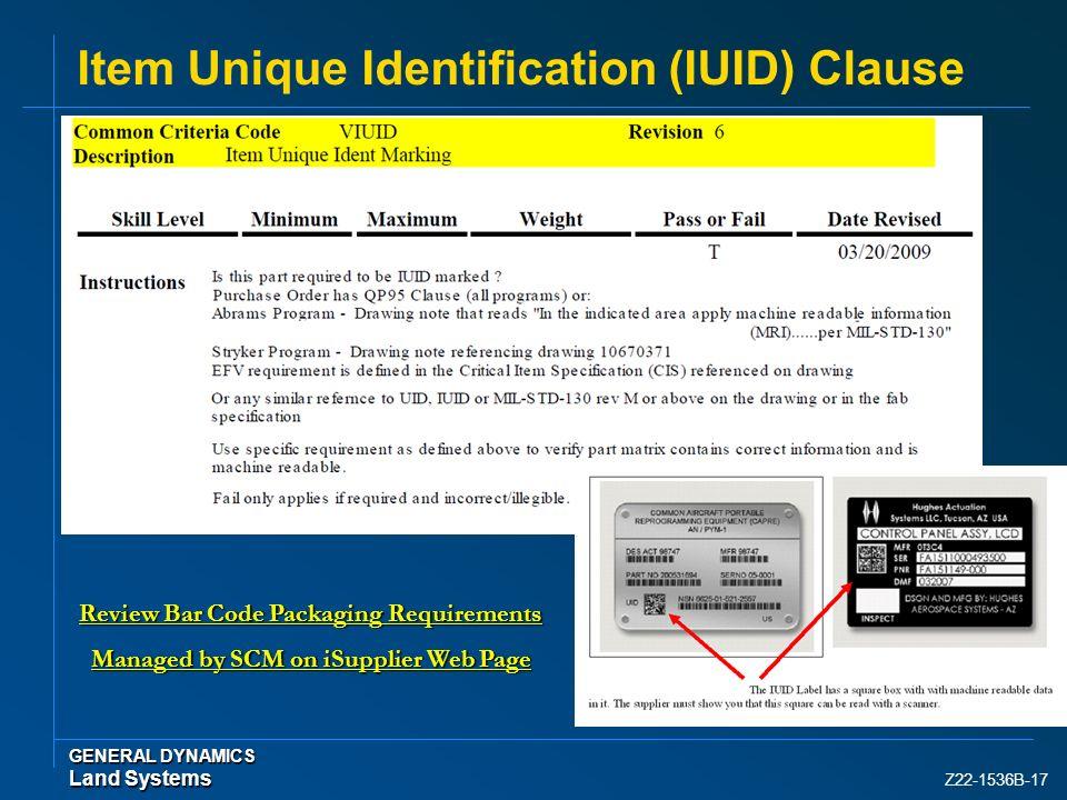 Item Unique Identification (IUID) Clause