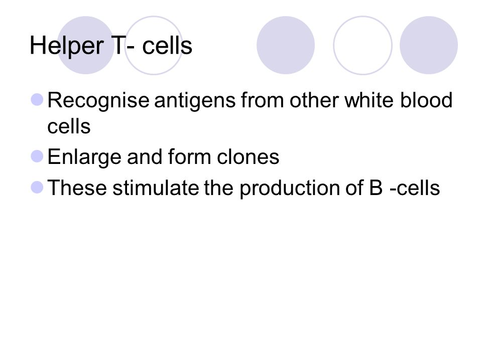 Helper T- cells Recognise antigens from other white blood cells
