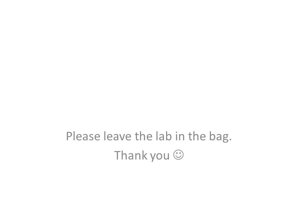 Please leave the lab in the bag. Thank you 