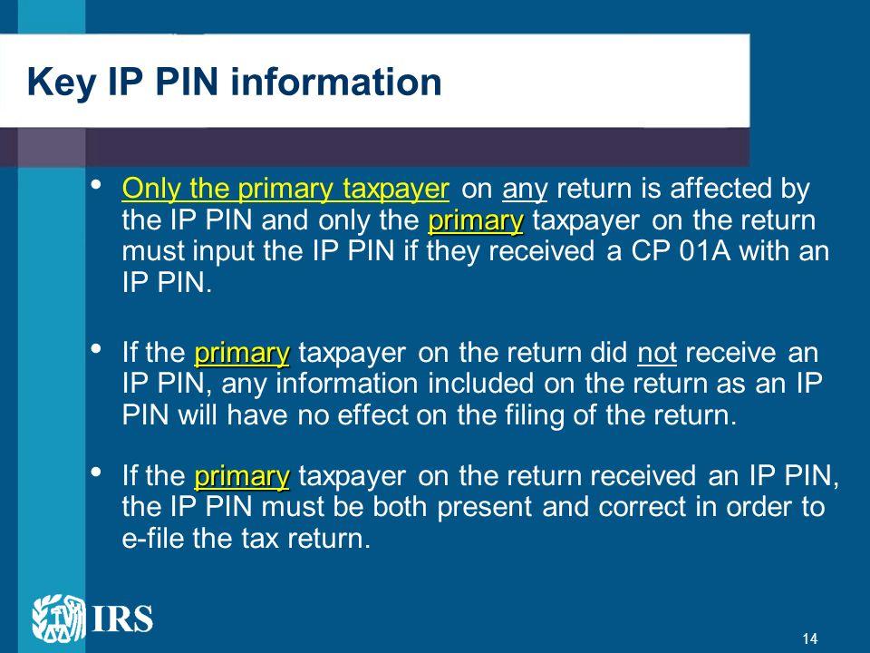 Key IP PIN information