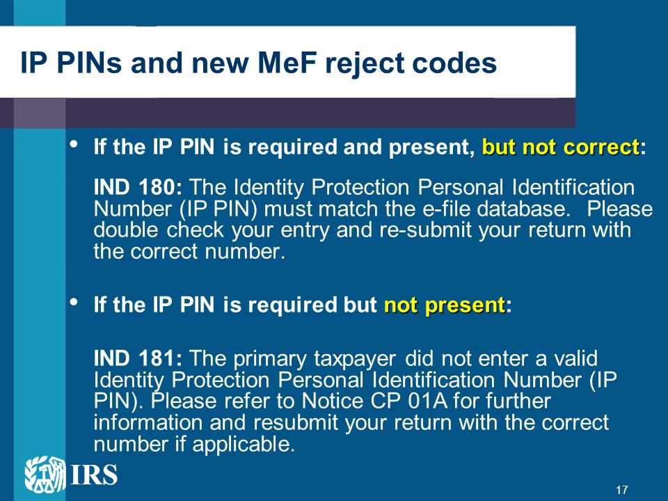 IP PINs and new MeF reject codes