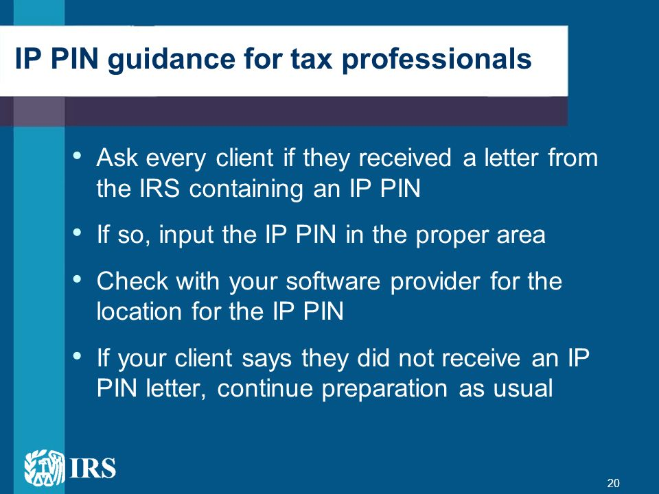 IP PIN guidance for tax professionals