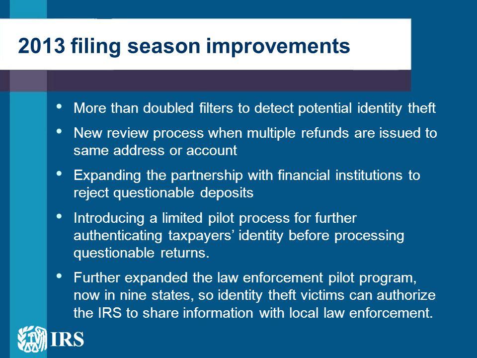 2013 filing season improvements