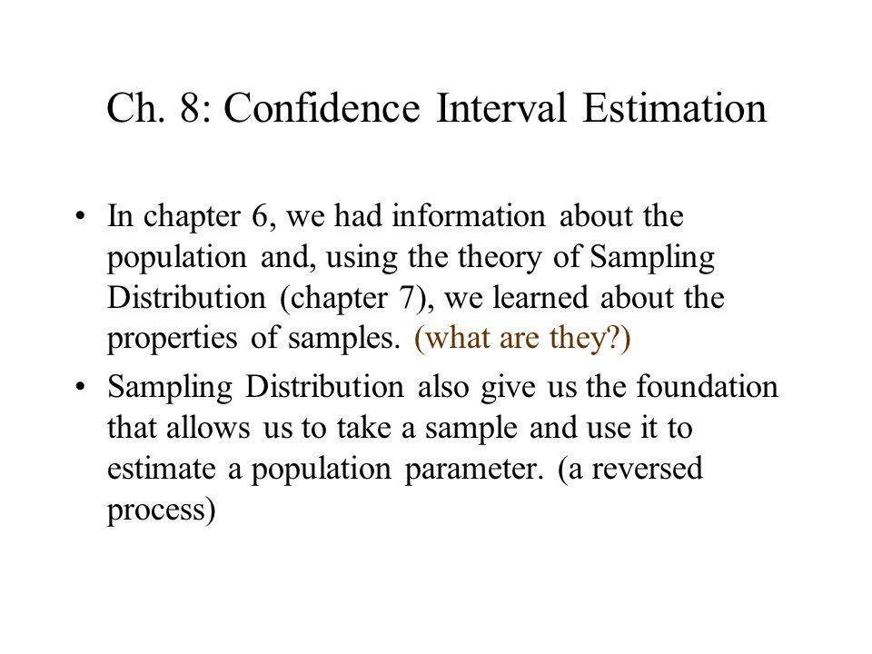 Ch. 8: Confidence Interval Estimation