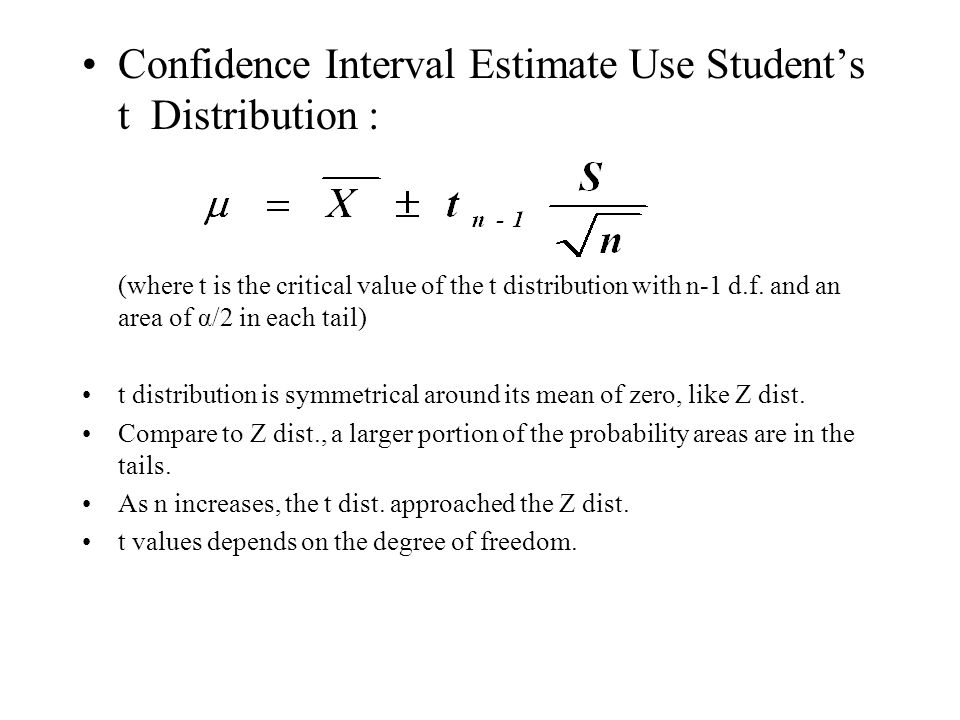 normal distribution and confidence interval Determine whether to use a t distribution or a normal distribution compute a confidence interval on the mean to explain how confidence intervals are where z95 is the number of standard deviations extending from the mean of a normal distribution required.