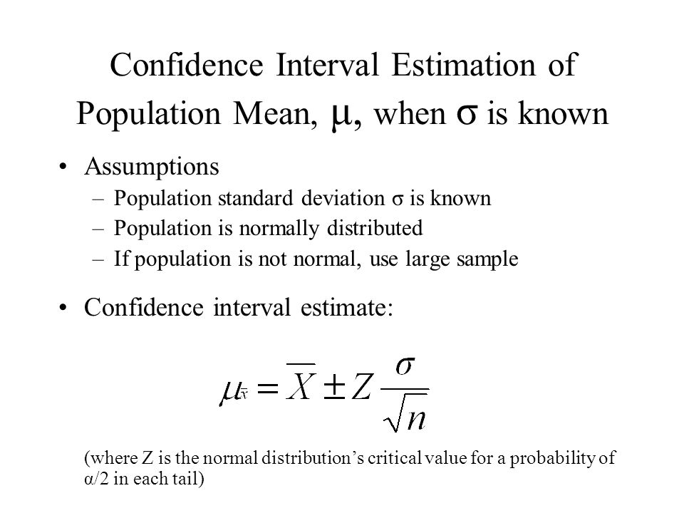 Confidence Interval Estimation of Population Mean, μ, when σ is known