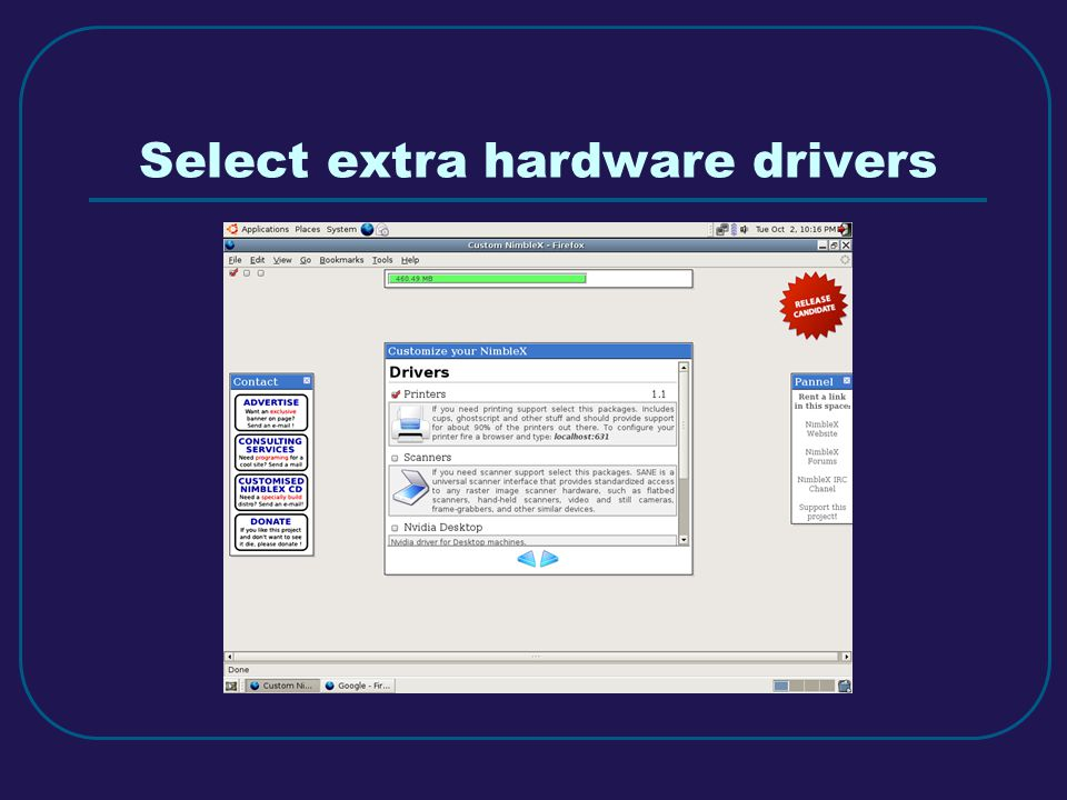 Select extra hardware drivers